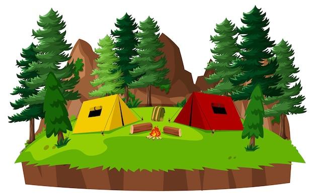 公園内のテントキャンプ Premiumベクター