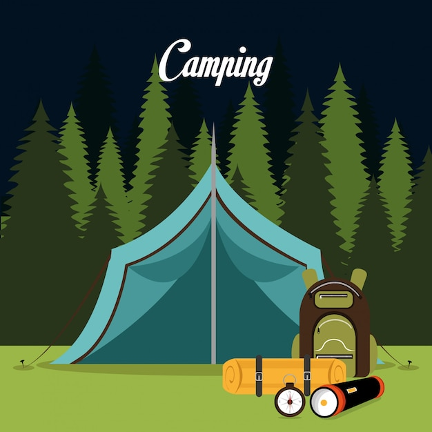 Tent camping over landscape background isolated icon design Premium Vector