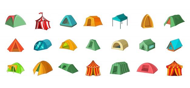 Tent element set. cartoon set of tent vector elements Premium Vector