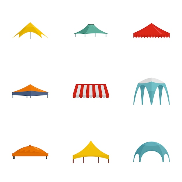 Tent icon set. flat set of 9 tent vector icons Premium Vector