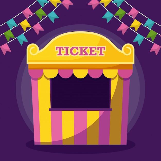 Tent sale ticket with garlands Premium Vector