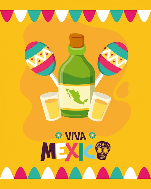 Tequila bottle and maracasfor viva mexico Free Vector