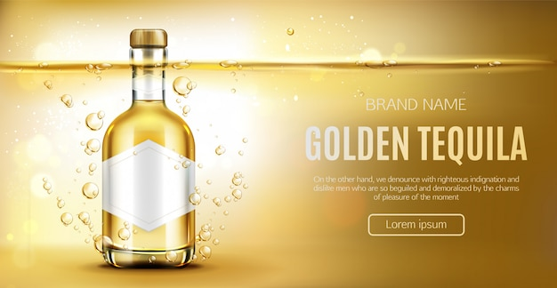 Tequila bottle on yellow Free Vector