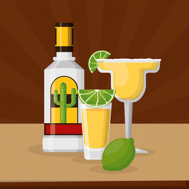 Tequila and lemon with cocktail margarita, mexican celebration Free Vector