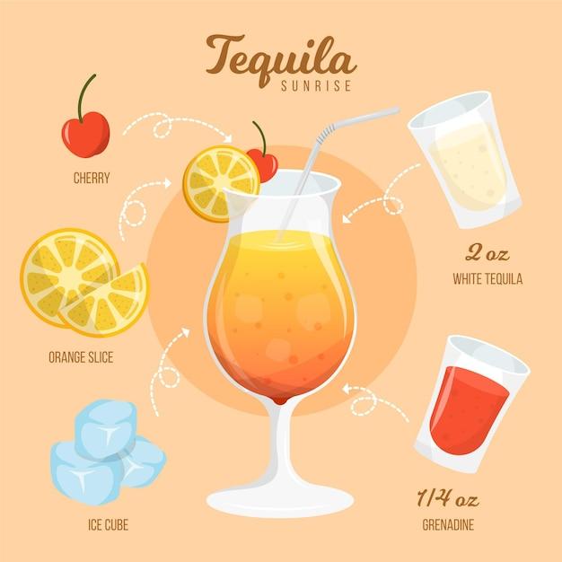 Tequila sunrise cocktail recipe design Free Vector