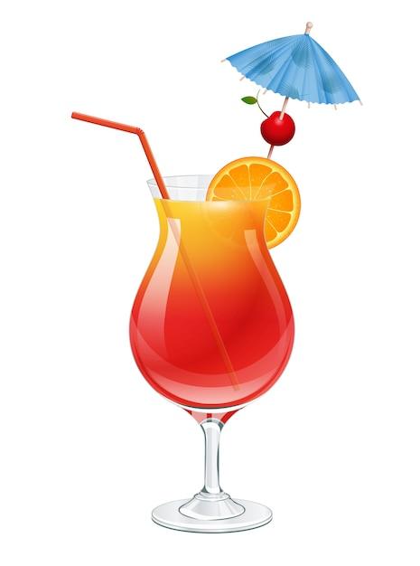 Коктейль с текилой восход солнца с вишней, долькой апельсина, праздничным зонтиком и украшением из красной соломенной трубки. на белом фоне иллюстрации. Premium векторы