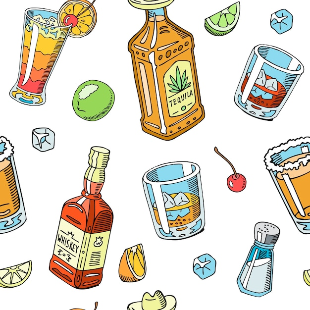 Tequila and whiskey drink liquid seamless pattern Premium Vector