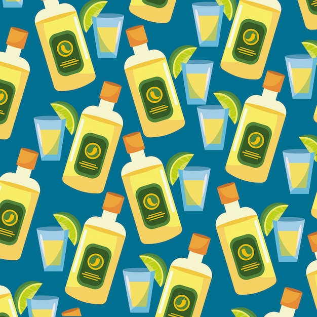 Tequila with sauce and lemon food background Premium Vector