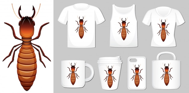 Termite on different product templates Free Vector