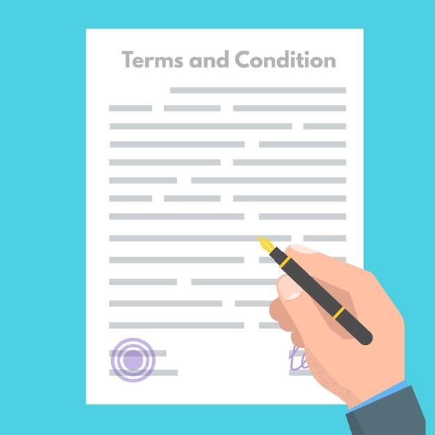 Условия использования концепции. документная бумага, договор. векторная иллюстрация в плоском стиле. Premium векторы