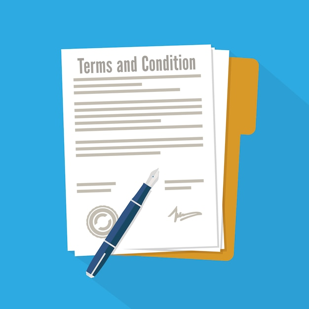 Terms and condition of document signed Premium Vector
