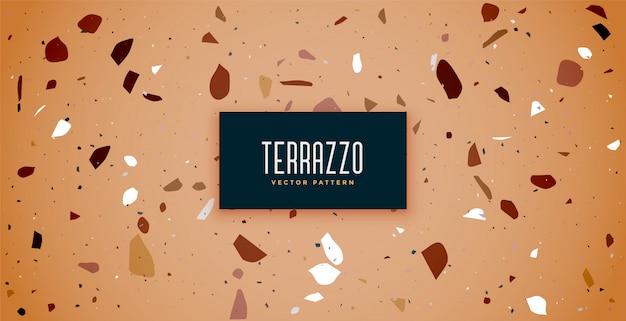 茶色の色合いのテラゾー床タイルパターン 無料ベクター