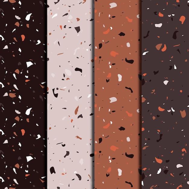 Terrazzo repeating seamless patterns set. texture composed of natural stone, glass, quartz, concrete, marble, quartz. italian type of floor. Premium Vector