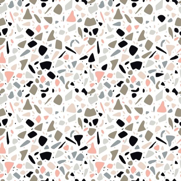 Terrazzo seamless pattern design with hand drawn rocks. Premium Vector