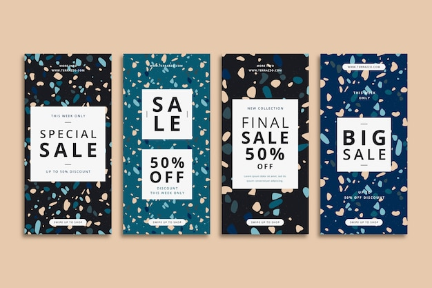 Terrazzo style sale instagram stories collection Free Vector