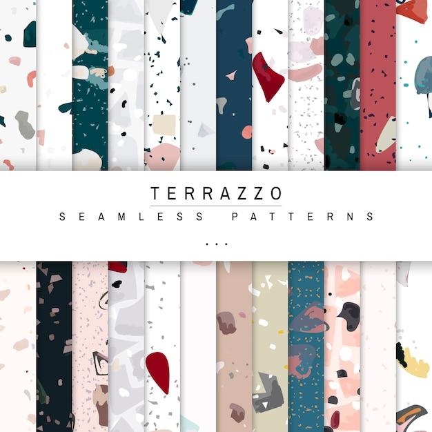 Красочные terrazzo бесшовные модели плакатов векторный набор Бесплатные векторы