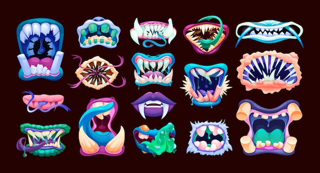 Terrible monster mouths. scary lips teeth and tongue monsters. Premium Vector