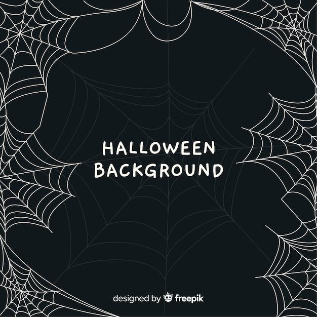 Terrific halloween background with cobweb Free Vector