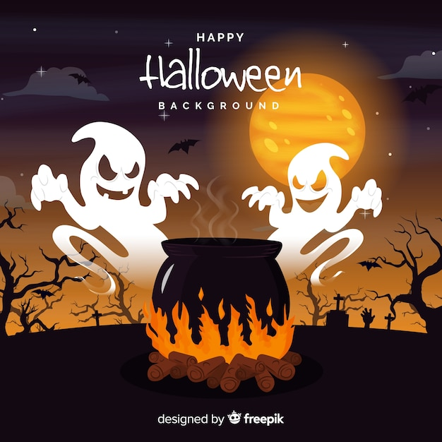 Terrific halloween background with flat design Free Vector