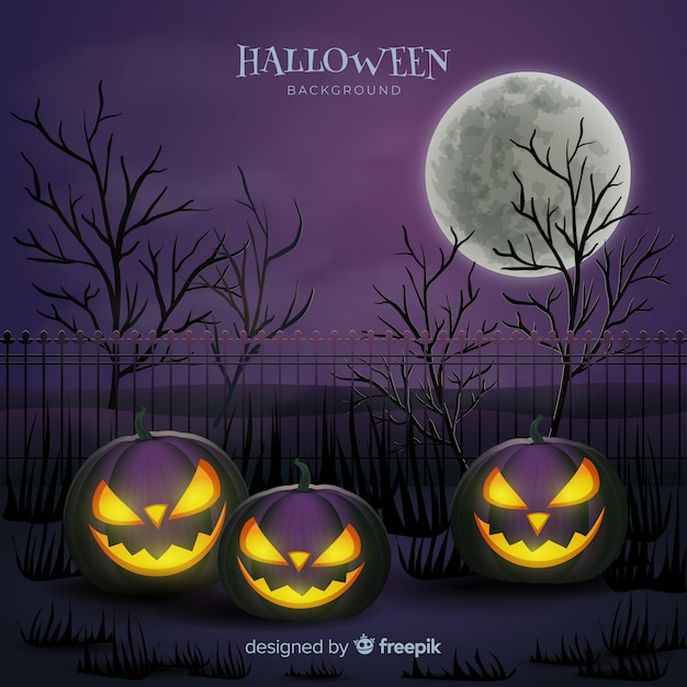 Terrific halloween background with realistic design Free Vector