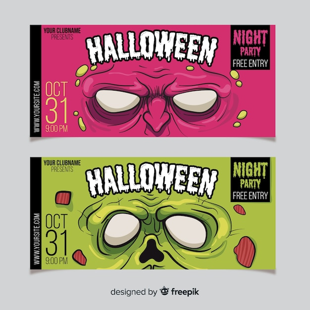 Terrific halloween banners with flat design Free Vector