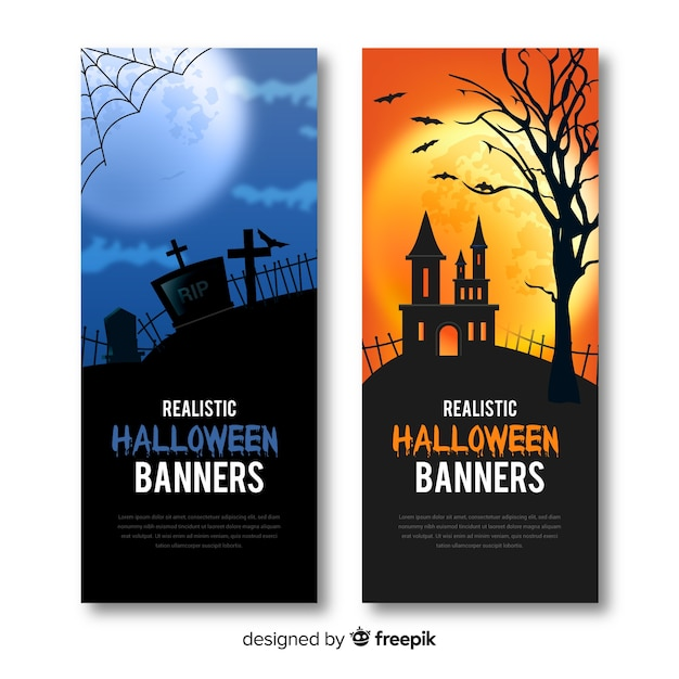 Terrific halloween banners with realistic design Free Vector