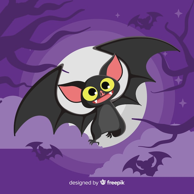 Terrific halloween bat with flat design Free Vector