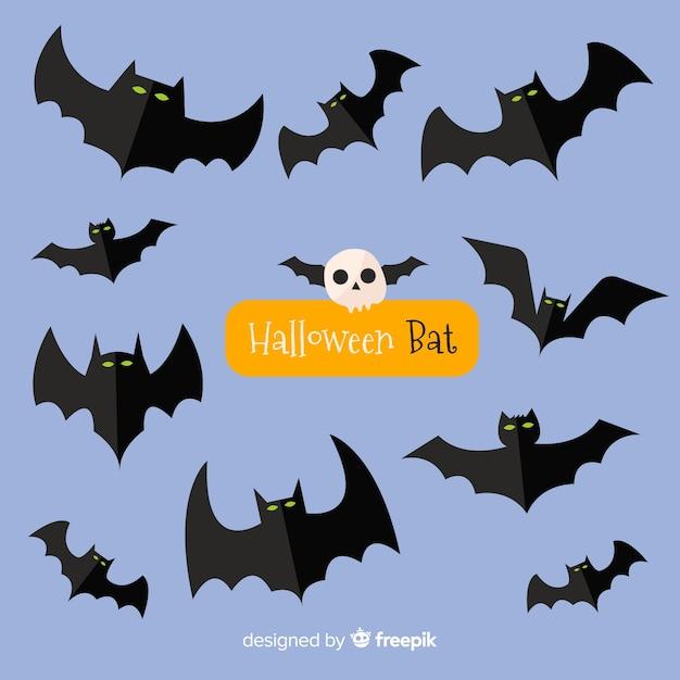 Terrific halloween bats with flat design Free Vector