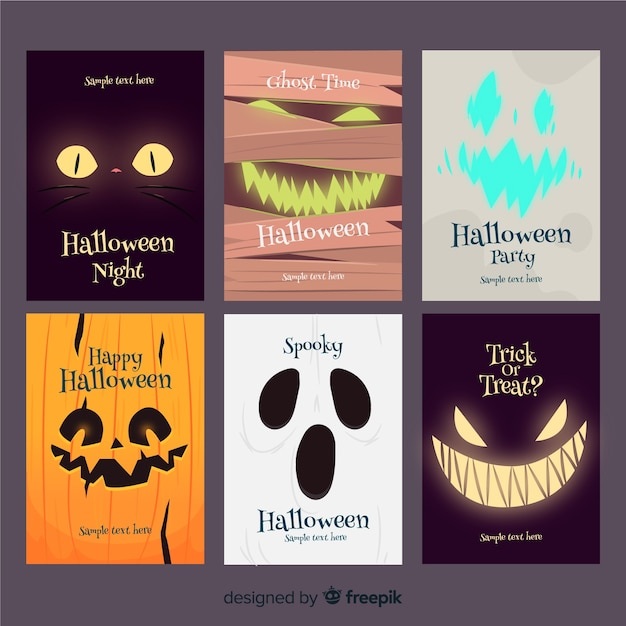 Terrific halloween card collection with flat design Free Vector