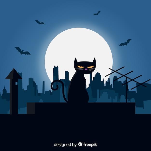 Terrific halloween cat with flat design Free Vector