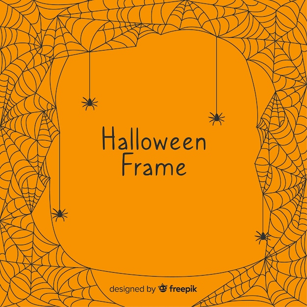 Terrific halloween frame with flat design Free Vector