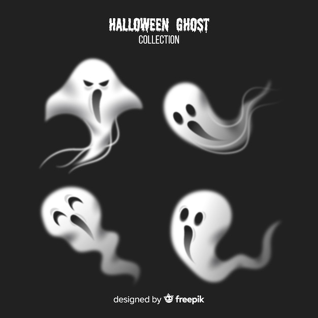 Terrific halloween ghost collection with realistic design Free Vector