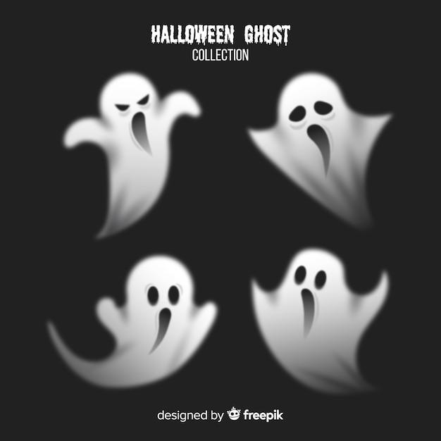Потрясающая коллекция призрак хэллоуина с реалистичным дизайном Бесплатные векторы