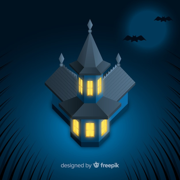 Terrific halloween haunted house with realistic design Free Vector