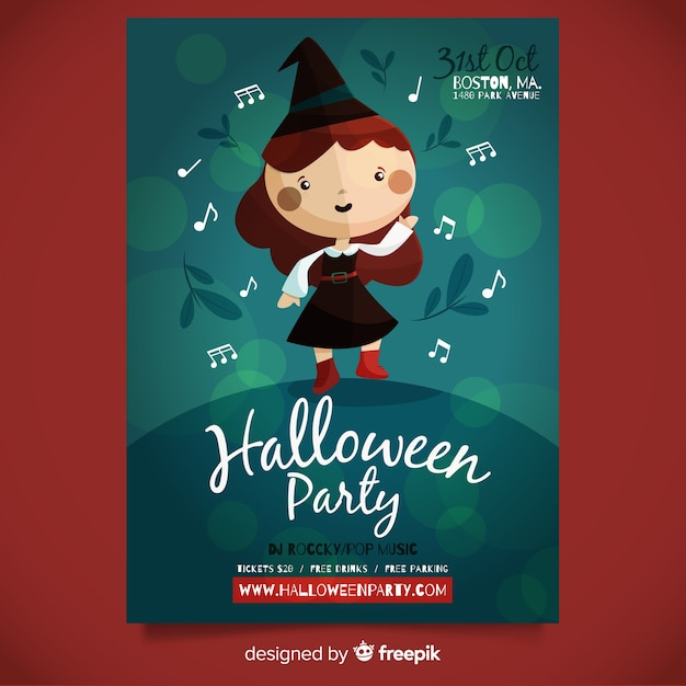 Terrific halloween party poster template with flat design Free Vector