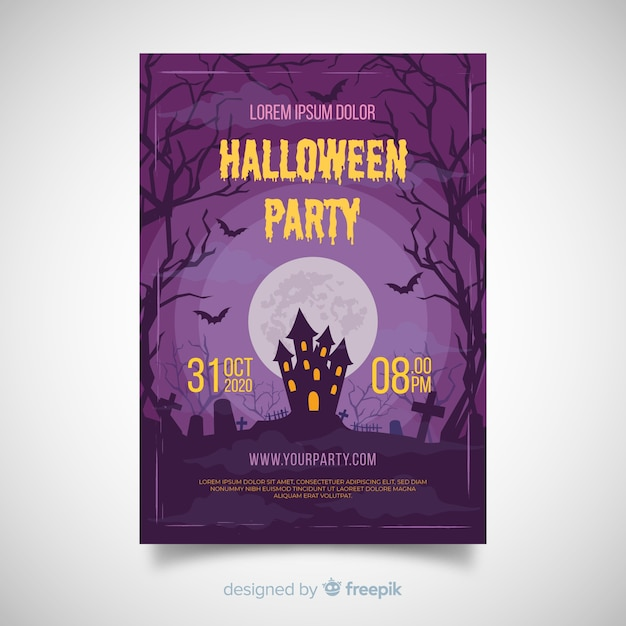 Terrific halloween party poster with flat design Free Vector