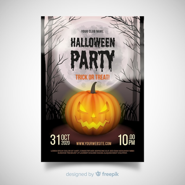 Terrific halloween party poster with realisitc design Free Vector