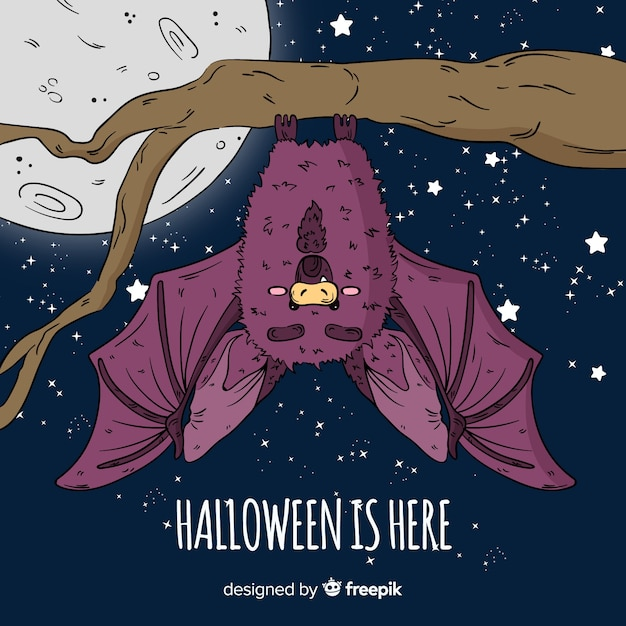 Terrific hand drawn halloween bat Free Vector