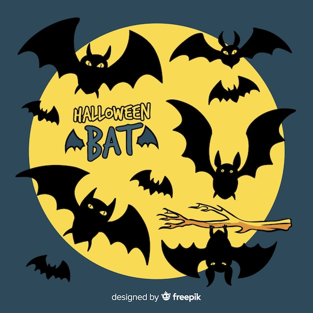 Terrific hand drawn halloween bats Free Vector