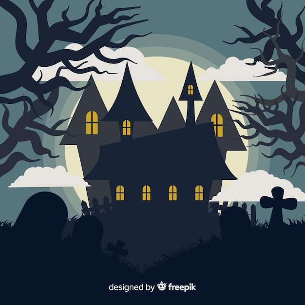 Terrific haunted house with flat design Free Vector