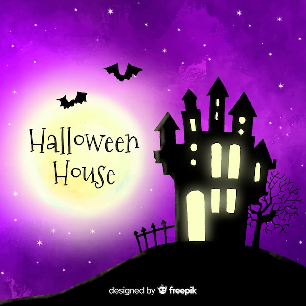 Terrific watercolor halloween haunted house Free Vector
