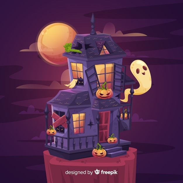 Terrifying haunted house background Free Vector