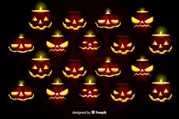 Terrifying pumpkins realistic halloween background Free Vector