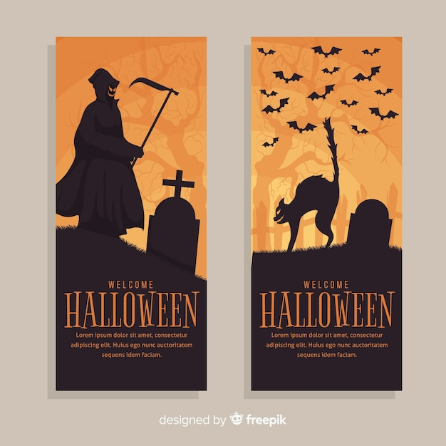 Terrirfic halloween banners with flat design Free Vector
