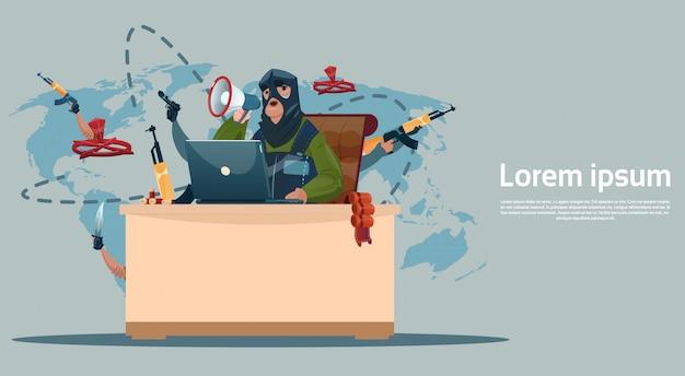Terrorism armed terrorist black mask hold weapon machine gun planning world attack Premium Vector