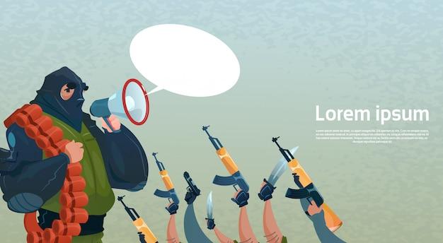 Terrorism armed terrorist group black mask hold weapon machine gun leader command Premium Vector