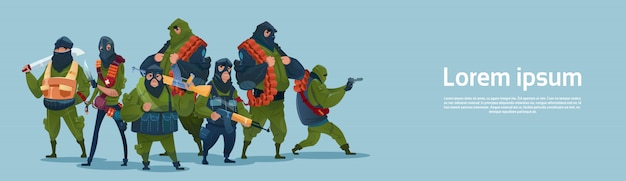 Terrorism armed terrorist group black mask hold weapon machine gun Premium Vector