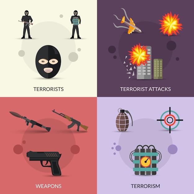 Terrorism flat set Free Vector