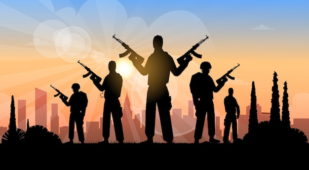 Terrorist group over city view banner Premium Vector