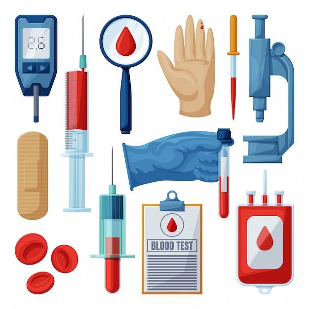 Тест крови мультфильм установить значок. Premium векторы